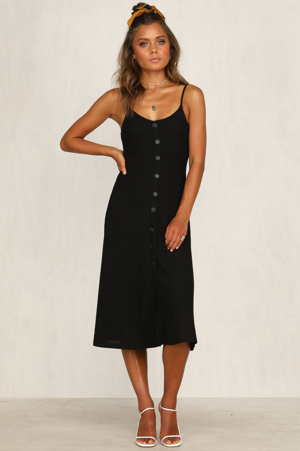 Countess Ribbed Dress (Black)