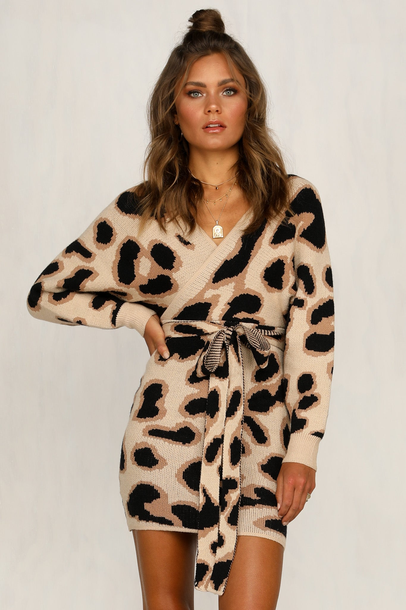Mila Knit Dress (Leopard)