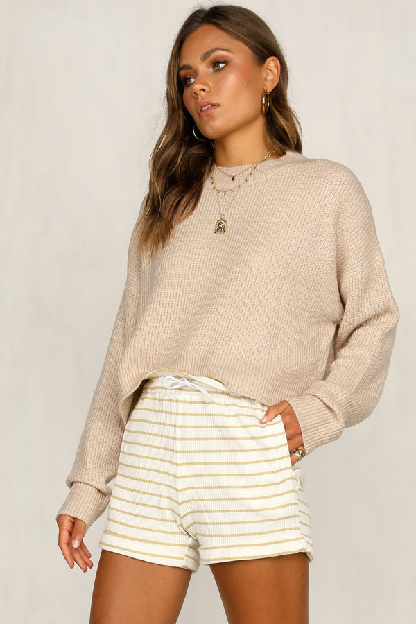 Bailey Ribbed Shorts (Mustard Stripe)