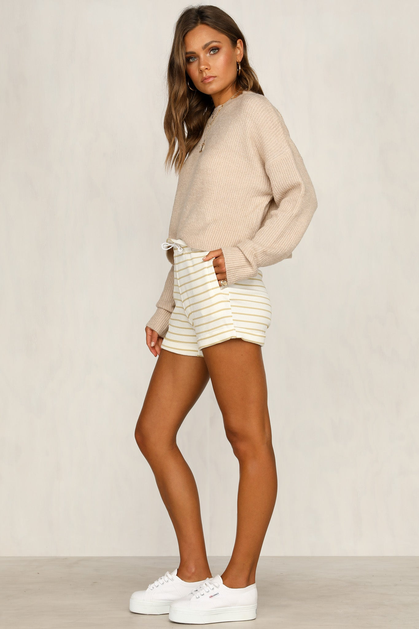 Bailey Ribbed Shorts (White Stripe)