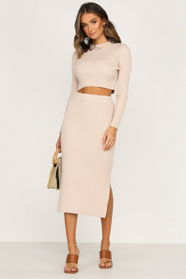 Freesia Knit Skirt (Beige)
