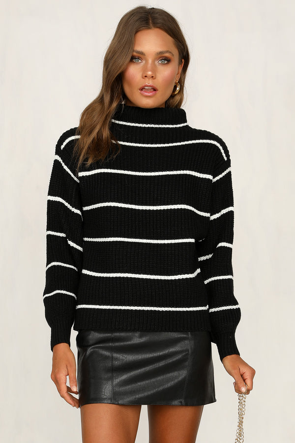 Walk On By Knit (Black Stripe)