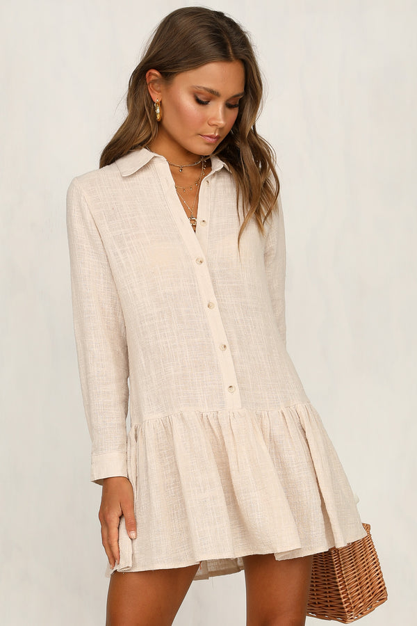 Make It Mine Shirt Dress (Beige)