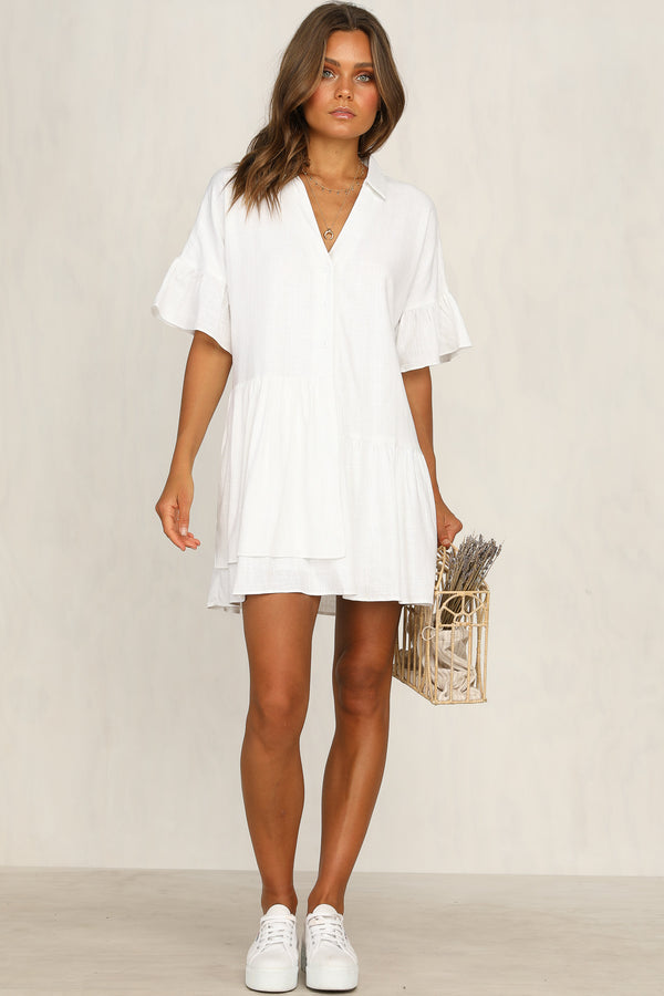 Clarice Linen Shirt Dress (White)