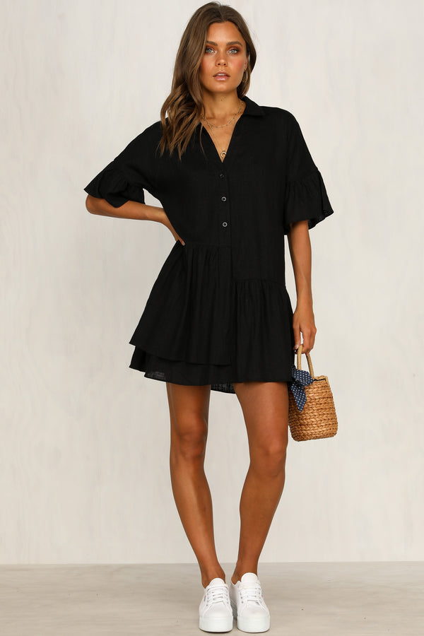Clarice Linen Shirt Dress (Black)