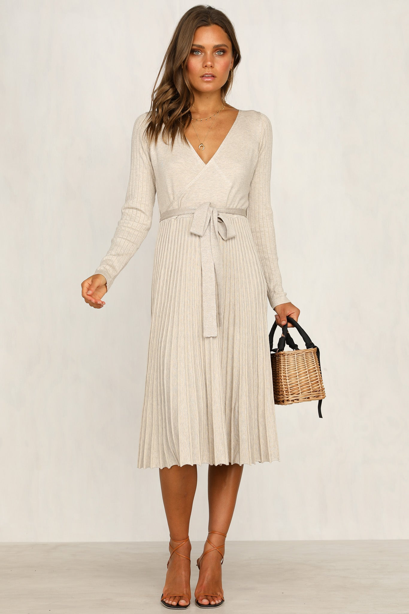 Florence Knit Dress (Beige)