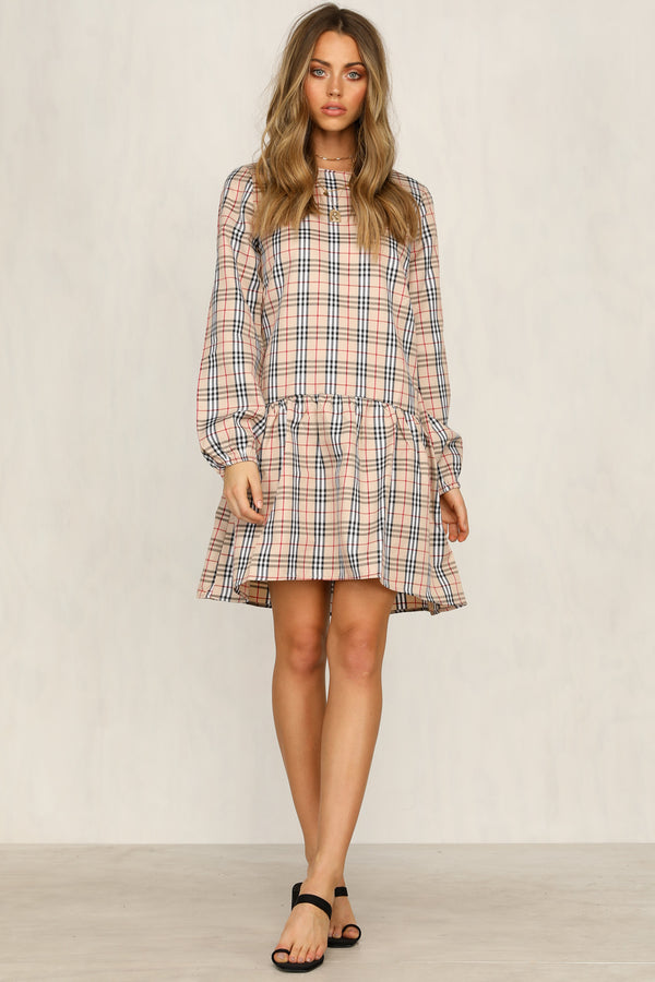 Cameron Dress (Beige Check)