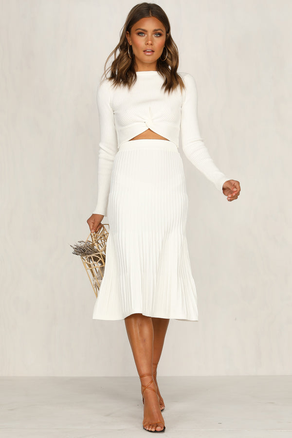 Avery Knit Skirt (White)
