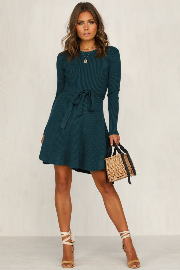 Do The Talking Knit Dress (Teal)