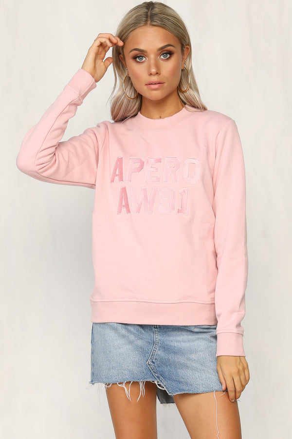 Apero AW91 Embroidered Sweater (Pink)