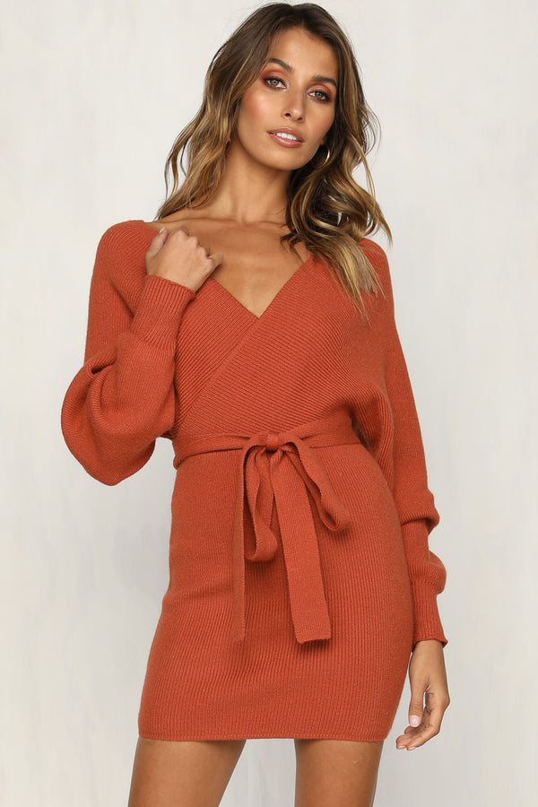 Mila Knit Dress (Rust)