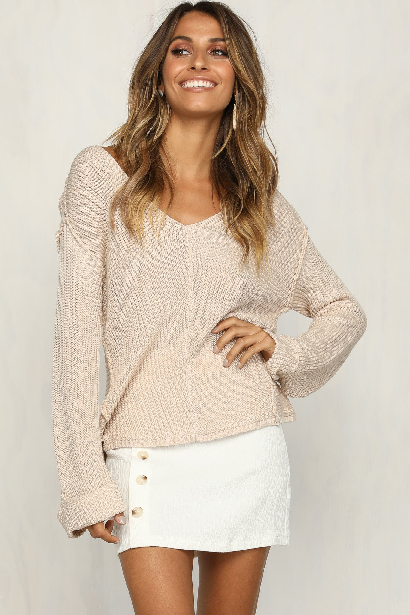 Sweet Escape Knit Sweater (Beige)