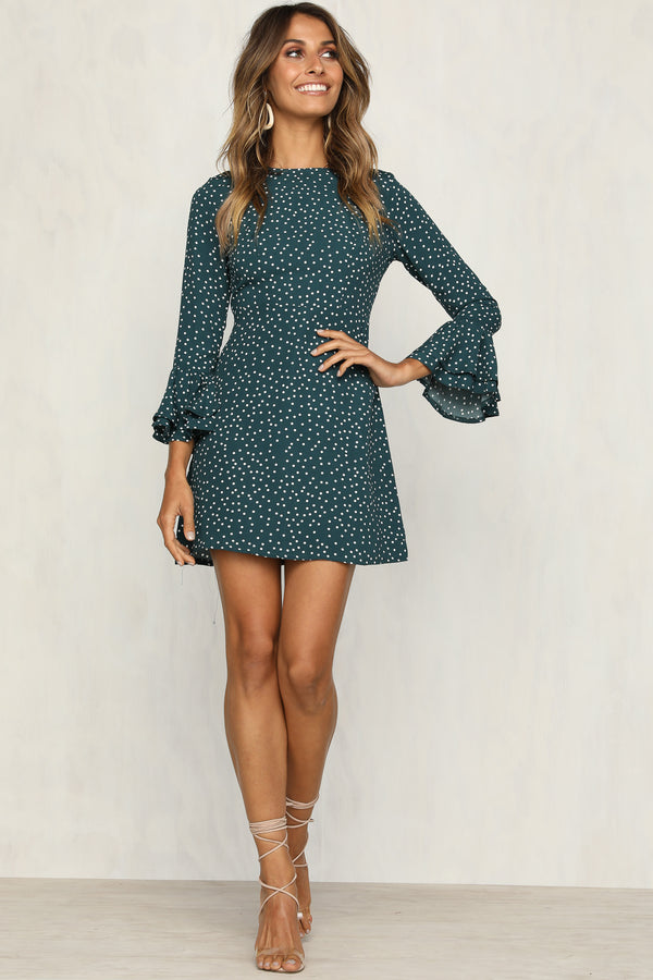 Know What I Want Dress (Green Polka Dot)