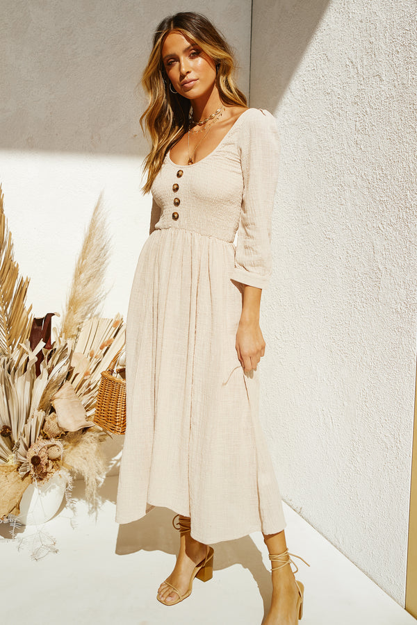 Rouched Maxi Dress (Beige)