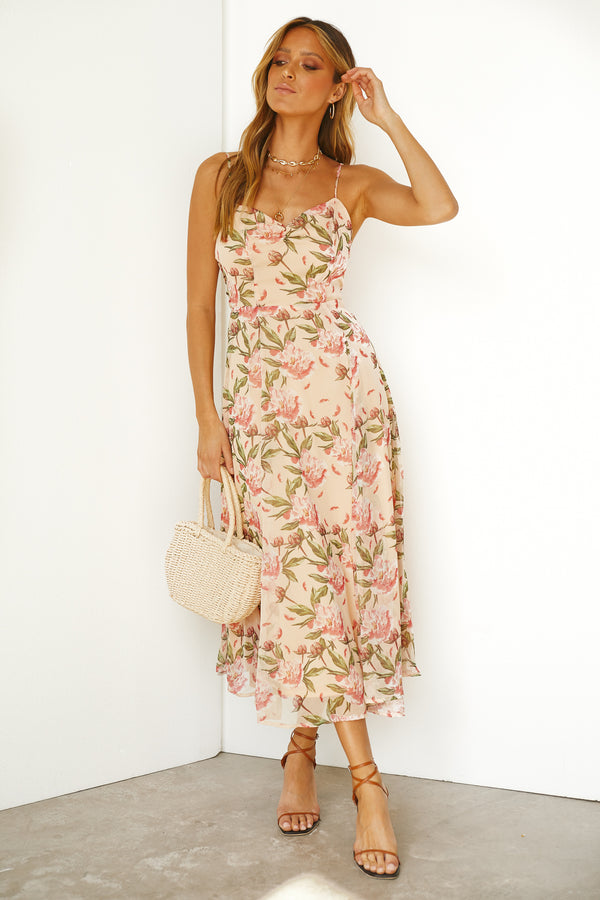 Melodic Dress (Peach Floral)