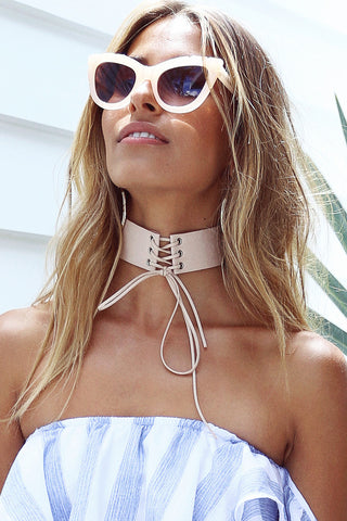 Lace Up Choker (Blush)