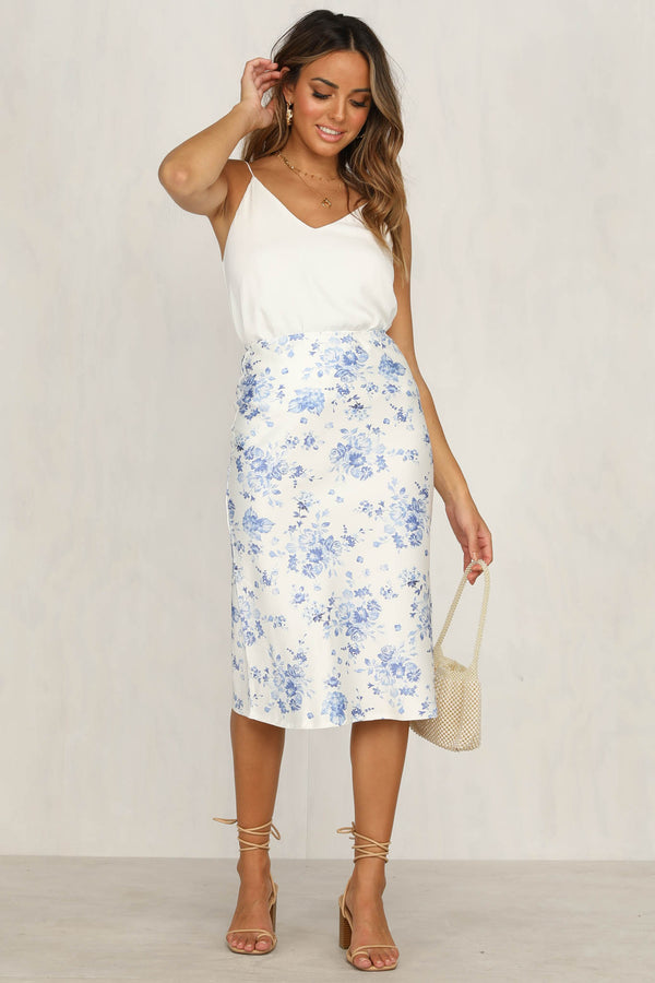 Like A Lady Skirt (Blue Floral)