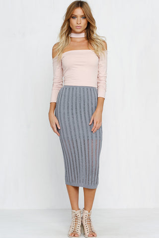 Piper Midi Skirt (Grey)