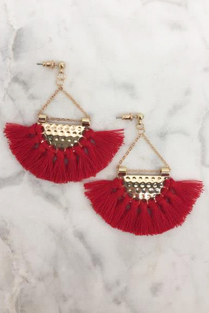 Fan Fringe Earrings (Red)