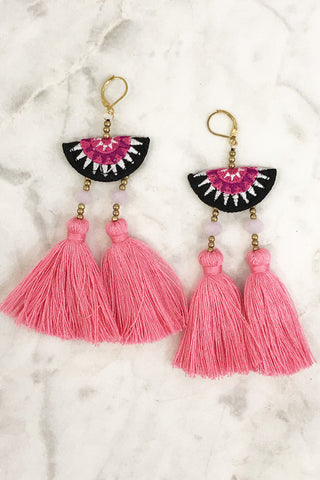 Tassel Drop Earrings (Pink)
