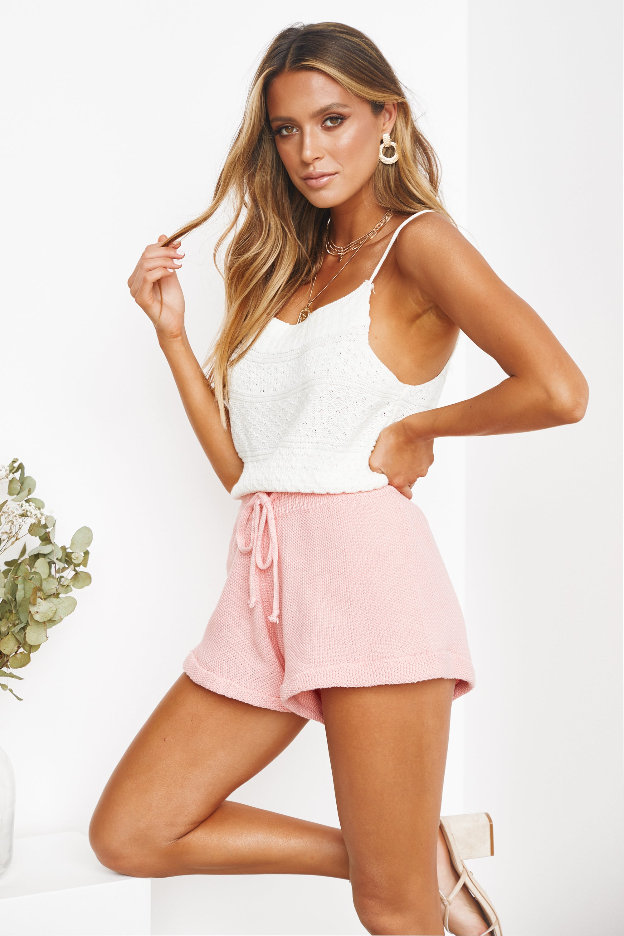 Hermosa Knit Shorts (Pink)