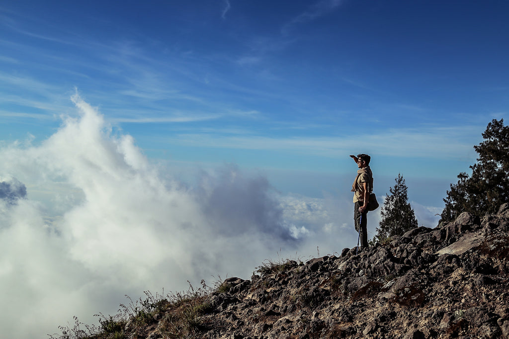 WG Trunk Co looks out over the crater rim in Lombok