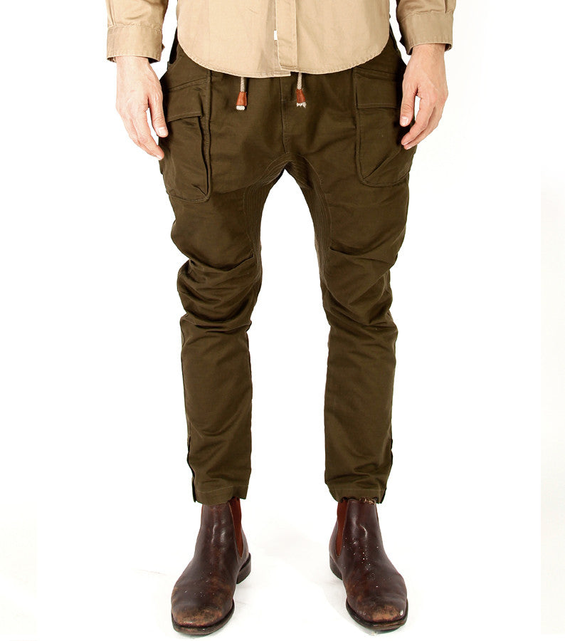 Alpha Drop Pants in Olive