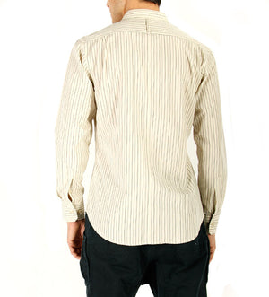 Burns Shirt in Natural with Navy Stripe