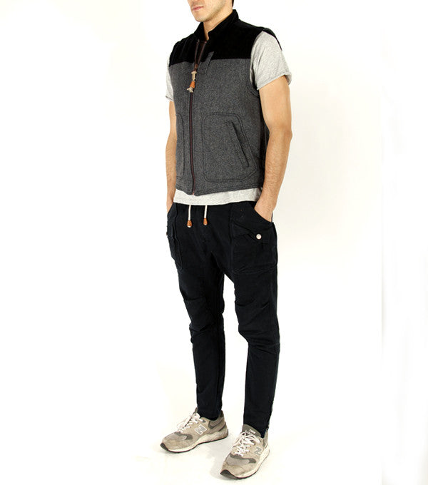 Road Train Vest in Grey Herringbone