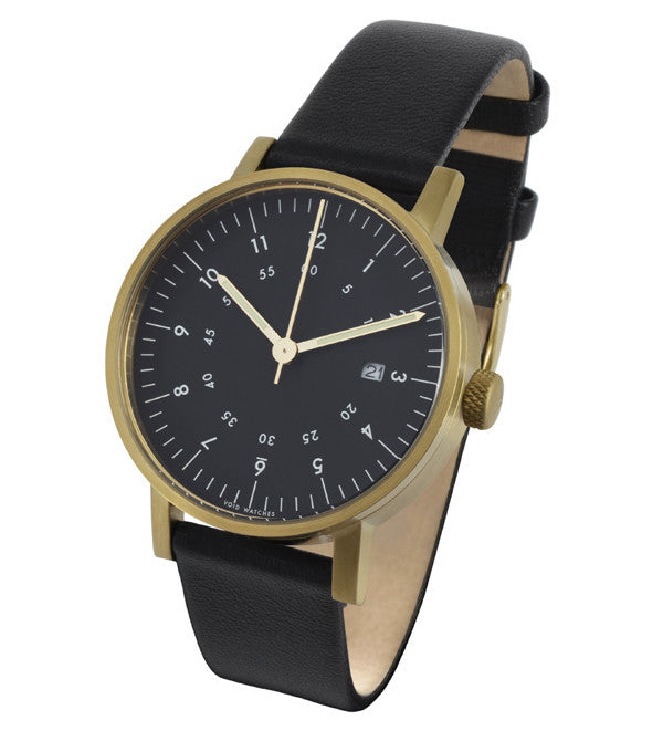 VOID - V03 Watch in Brass with Black Leather Strap