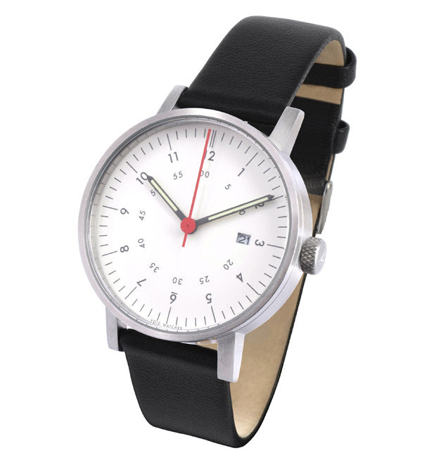 V0ID - V03 Watch in Silver with Black Leather Strap