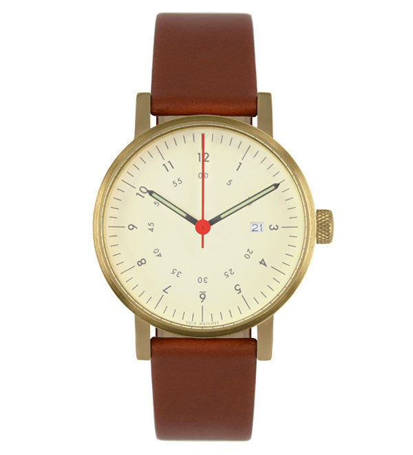 V0ID - V03 Watch in Brass with Brown Leather Strap