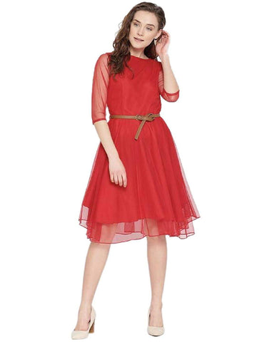 Image of A-line Dresses for Women Skater Dress - Red
