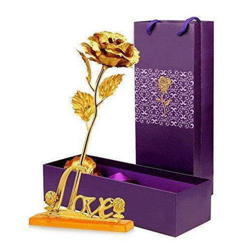 Image of Antique 24K Gold Rose With Love Stand Gift Box