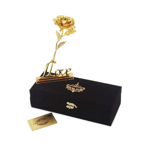 Antique 24K Gold Rose With Love Stand Gift Box