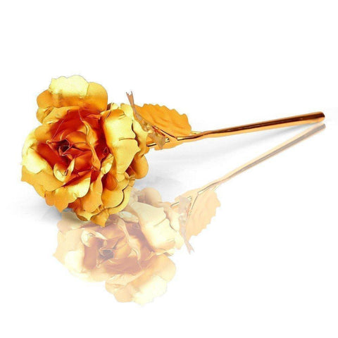 24K Gold Rose Love Stand + Golden Pendant Gift Box