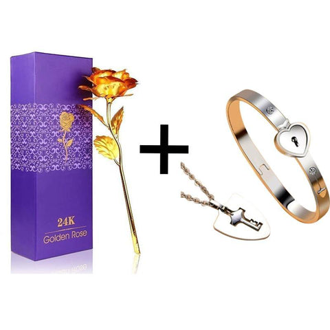True Love Bracelets And Key Pendant + 24K Love Gold Rose