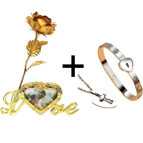 True Love Bracelets And Key Pendan+ 24K Gold Love Rose Stand with Frame