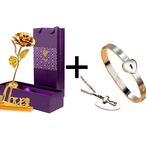 True Love Bracelets And Key Pendant + 24k Gold Love Rose Stand
