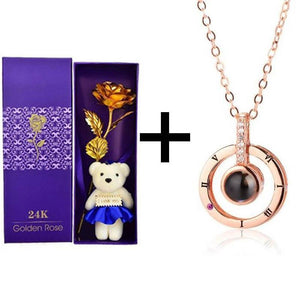 24K Gold Rose + Teddy Bear + Pendant Gift Box