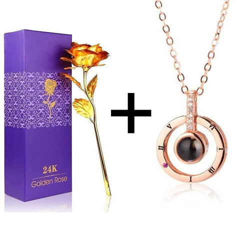 24K Gold Rose + Love Pendant Gift Box