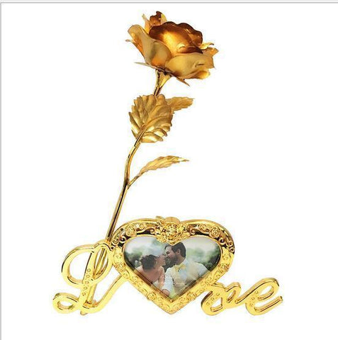 Image of 24k Gold Rose with Photo Framed Love Stand