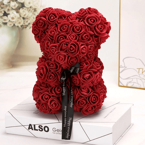 Image of THE LUXURY ROSE TEDDY BEAR + 24K Gold Love Rose Stand with Heart
