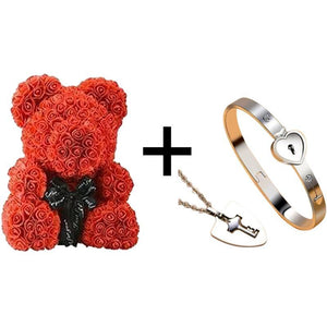 True Love Bracelets And Key Pendant + Luxury Rose Teddy Bear