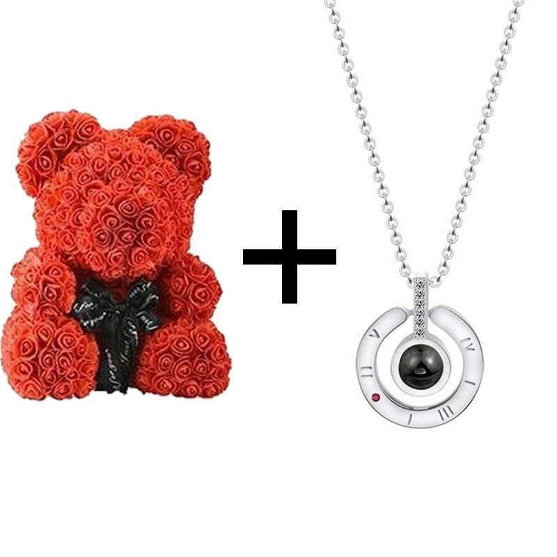 THE LUXURY ROSE TEDDY BEAR + Silver Pedant