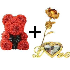 THE LUXURY ROSE TEDDY BEAR + 24K Gold Love Rose Stand with Heart