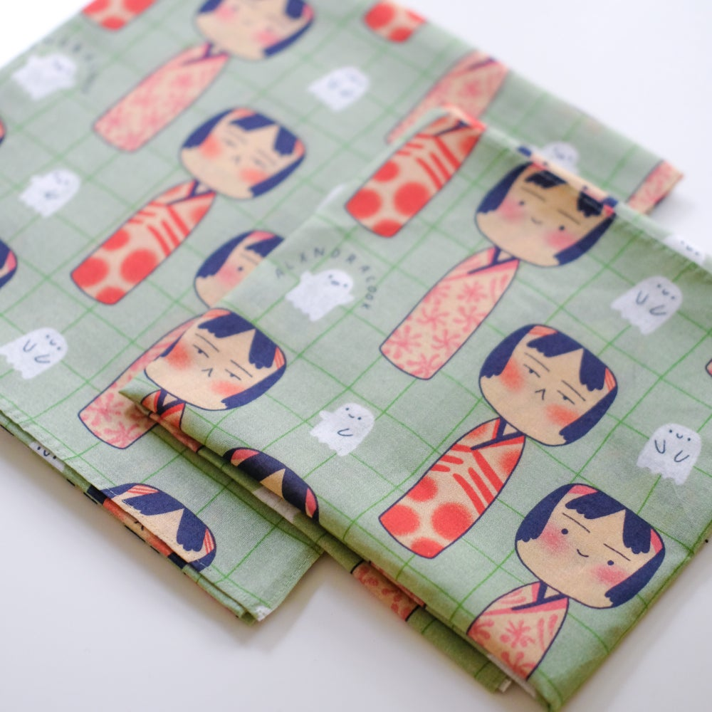 Kokeshi Doll Furoshiki Cotton Scarf