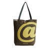 Bold Yellow @ on Brown - Handmade Shoulder Canvas Bag - Strap - kolpaworld.com