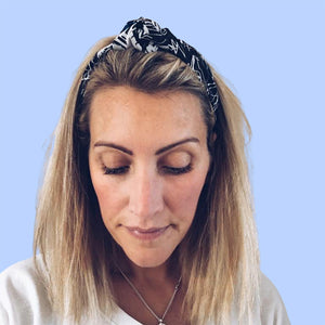 Fuji Black & White Cotton & Silk Twist Headband