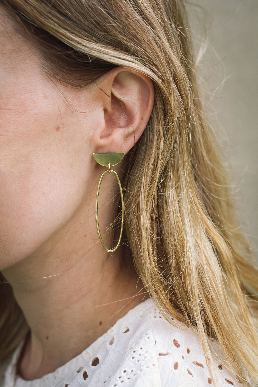 Oval D-Top Statement Brass Earrings